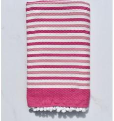 Fouta bianco sporco e rosa con pompon