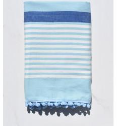 Fouta sporco bianco, blu e azurin con pompon