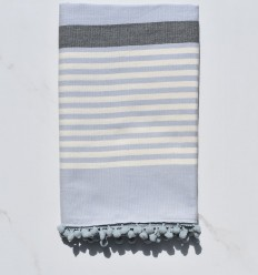Fouta carrello bianco panna, grigio e blu con pompon