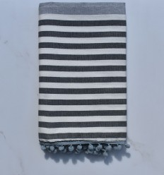 Fouta sporco bianco, grigio e grigio scuro con pompon
