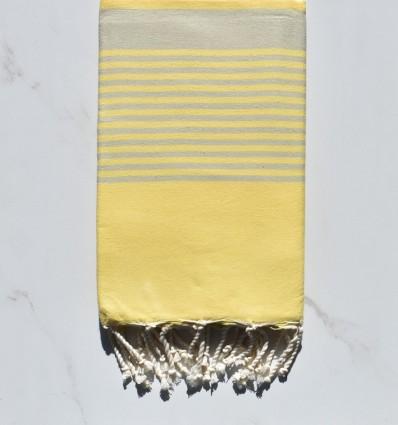 Fouta Arthur taupe chiaro a strisce giallo chiaro