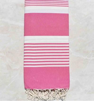 Grande fouta rosa con strisce 2m/2m
