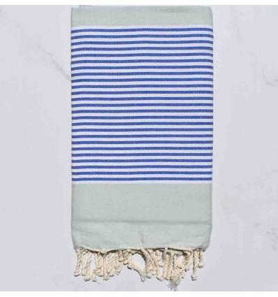 Telo mare piatta verde pallido a strisce blu e bianco