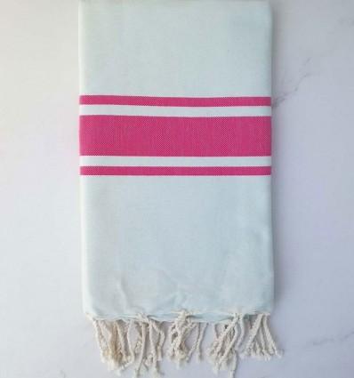 Telo mare piatta blu pallido a strisce rosa