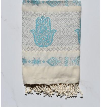 Fouta khomsa azzurro con filo lurex argento
