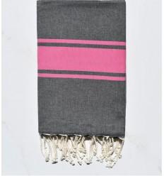Telo mare piatta grigio scuro con strisce rosa