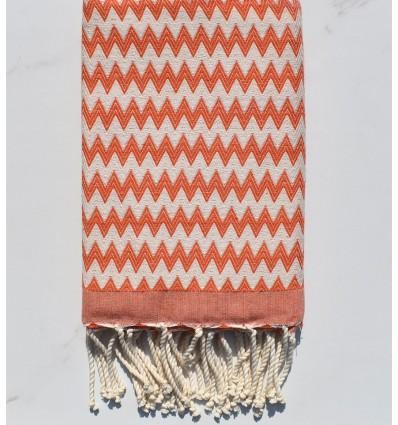 Fouta zigzag arancio corallo
