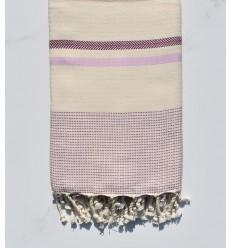 Fouta Chevron bianco crema, rosa chiaro e viola vescovo