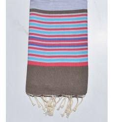 Fouta 5 colori grigio chiaro, bistro, rosa, azzurro e indaco
