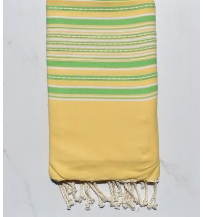 Fouta Telo mare arabesco giallo e verde