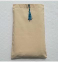 Pochette fouta beige clair avec nœud pompon bleu céruléen