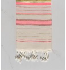 Telo mare fadhila rosa e bianco crema con lurex