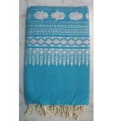 Fouta khomsa blu turchese