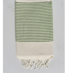 Telo mare bianco sporco con lurex verde chiaro