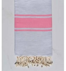 Fouta grigio chiaro con strisce rosa