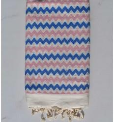 Fouta zigzag bianco di titanio, blu e rosa