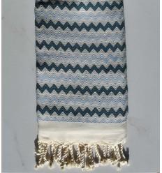 telo mare a zig-zag bianco, blu cobalto e maya