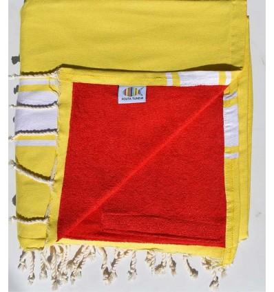 telo mare raddoppiato spugna giallo cobalto e rosso