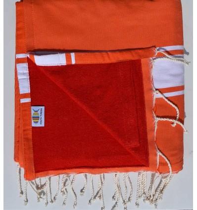telo mare raddoppiato spugna arancione rosso