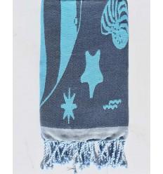 telo mare jacquard stella di mare blu notte e blu azzurro