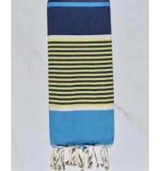 Telo mare piatto da bambino blu azzurro, blu scuro, giallo e bianco