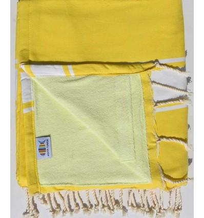 telo mare raddoppiato spugna giallo cobalto e giallo lime