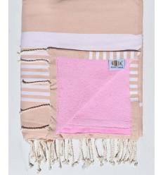 telo mare doppia spugna arthur beige rosato e rosa