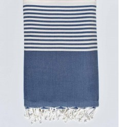 Copriletto blu navy e ecru con striping