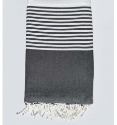 Copriletto grigio ardesia e bianco con striping