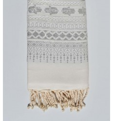 telo mare khomsa bianco con filo argento lurex