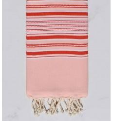 telo mare arabesco bambino rosa con strisce rosse