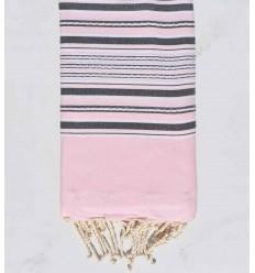 telo mare arabesco rosa pastello con strisce grigie