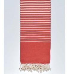 Copriletto rosso a strisce ecru