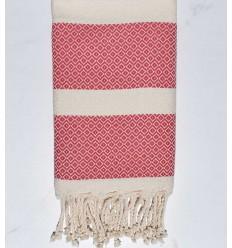 Fouta chevron acquerello rosa e bianco crema