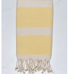 Fouta chevron giallo napoli e bianco crema