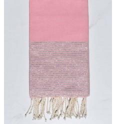 telo mare piatto Polvere rosa con filo argento lurex