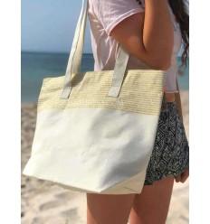 borsa da spiaggia telo mare colore ecru con lurex dorato