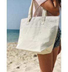 borsa da spiaggia telo mare colore ecru con lurex argento
