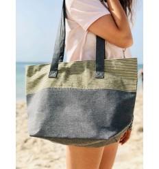 borsa da spiaggia telo mare colore grigio scuro con lurex dorato