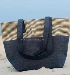 borsa da spiaggia telo mare colore blu marino con lurex dorato