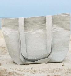 borsa da spiaggia telo mare colore grigio chiaro con lurex argento
