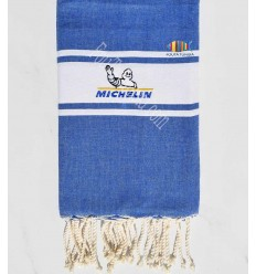 telo mare piatto blu denim con ricamo Michelin