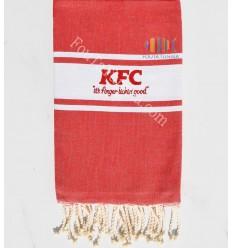 Telo mare colore rosso piatto ricamato KFC